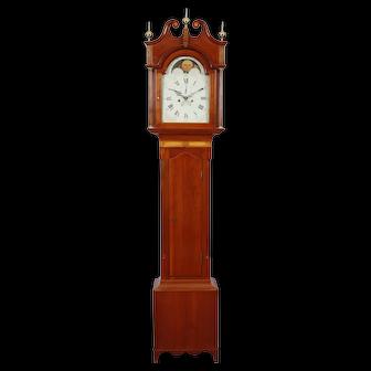 Signed Flavel Bingham New York State Cherry Tall Case Grandfather Clock C. 1800 - 1804