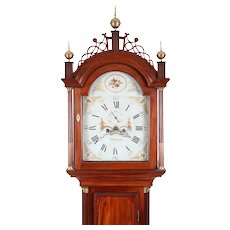 C1800 Roxbury MA Tall Case Grandfather Clock William Cummens Quarter Fan Inlay
