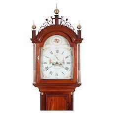 C1800 Roxbury MA Tall Case Grandfather Clock William Cummens Quarter Fan Inlay