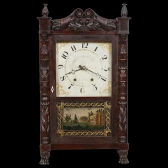 Empire Mahogany Carved Case Mark Leavenworth Wood Works Shelf Clock C. 1830  ORIGINAL !   Time Capsule !