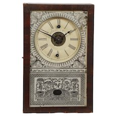 RARE Miniature Cigar Box Clock C. 1850 New England Clock Co. Time & Alarm Movement