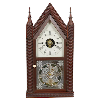 JC Brown Forestville Manufacturing Co. 8 Day Ripple Fusee Steeple, Time & Alarm Mint Original !