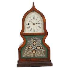 JC Brown Forestville CT Miniature Fusee Acorn Clock 8 day Signed MVT, Label