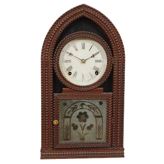 JC Brown Forestville Manufacturing Co. 8 Day Ripple Beehive Shelf Clock