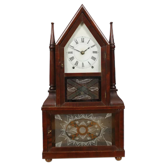 Birge & Fuller 8 day Fusee Candlestick Shelf Clock Original Dial, Glasses & Label