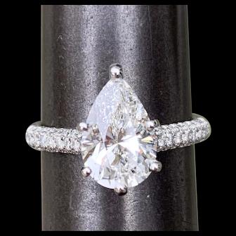 GIA Certified Platinum 2CT Pear Diamond Engagement Ring G-VS