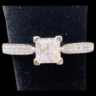 Platinum Gabriel & Co. Princess Diamond Engagement Ring 1.06CTW