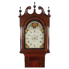 Josiah Smith, Reading C. 1820 Sheraton Walnut 8 Day Tall Case Grandfather Clock