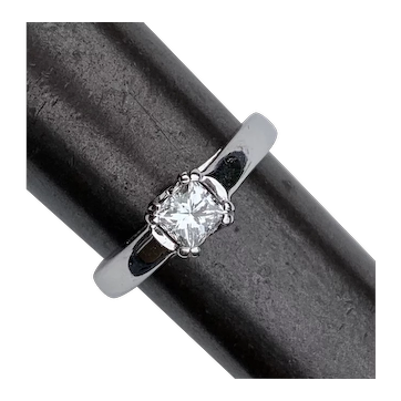 18K White Gold Princess Diamond Engagement Solitaire Ring .49CT