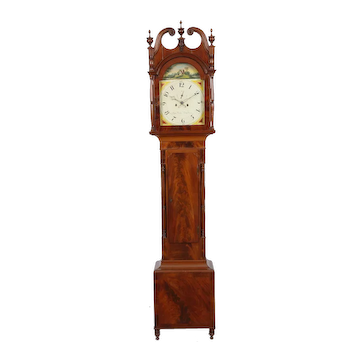 Aaron Brokaw Bridge Town (Rahway) New Jersey C. 1825, Flame Mahogany Tall Case Clock