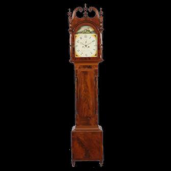 Aaron Brokaw Bridge Town (Rahway) New Jersey C. 1825, Flame Mahogany Tall Case Clock