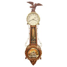 Foster Campos Carved Mahogany Curtis Girandole Weight Driven Banjo Clock