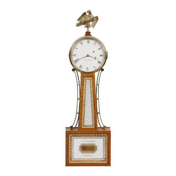 Elmer Stennes Weymouth MA Weight Driven Banjo Clock C. 1960's E. Howard Movement