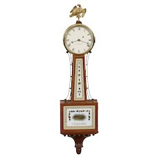 Foster Campos Cross Banded Mahogany S. Willard Patent Weight Driven Presentation Banjo Clock No. 25 1977