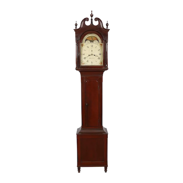 George Ford Lancaster City PA Cherry Tall Case Clock C. 1820 First Finish, Nolen & Curtis Painted Dial
