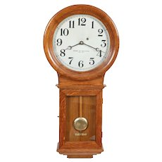 Chelsea Clock Co. Boston MA No. 1 Weight Driven Oak Regulator used in NYC School System