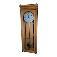 """E. Howard Oak # 89 Station Clock Weight Driven Wall Regulator """"Standard Time""""  C. 1889"""