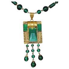 1920's Czechoslovakian Lavaliere Neiger Peking carved glass necklace in brass signed