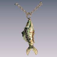 Vintage chinese articulated fish pendant pristine goldtone gilt cloisonne Excellent