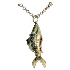 Vintage chinese articulated fish pendant pristine goldtone gilt cloisonne Excellent