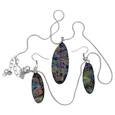 Artisan multiple color  Dichroic glass pendant and earring set