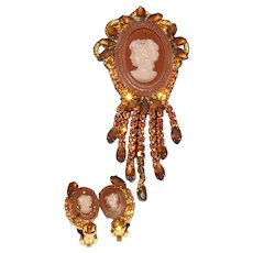 Juliana D&E intaglio topaz carved cameo brooch earrings set tortoise shell colored rhinestones massive length