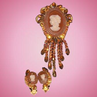 Juliana D&E intaglio topaz carved cameo brooch earrings set tortoise shell colored rhinestones massive length