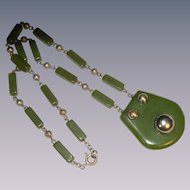 Jackob Bengel machine age green galalith chrome necklace