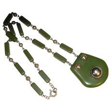 Jackob Bengel machine age green galalith chrome necklace