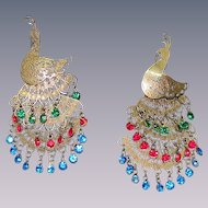 Vintage pair  Peacock Figural Pendants ,articulated, crystal rhinestones