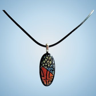 Artisan hand etched dichroic pendant