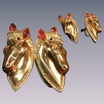 Coro Corocraft duette horses motif set. Sterling silver marked with gold vermeil Double Horse Katz 1943 patent large brooch matching earrings all signed