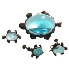 Vintage Jelly-belly turtle brooch, earrings and scatter pin,  family 3 pcs