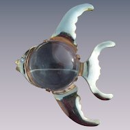 Vintage large jelly-belly fish figural brooch adorable sea theme