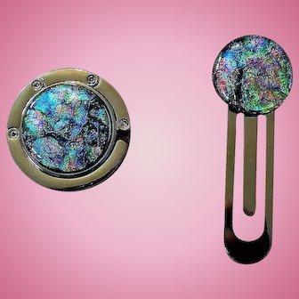 Artisan art glass cabochon purse hook and bookmark set
