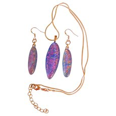 Artisan Dichroic Fused Glass Earrings and Pendant