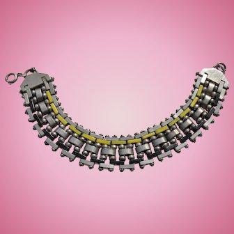German Jakob Bengel machine age heavy  chrome brickwork and enamel bracelet excellent condition