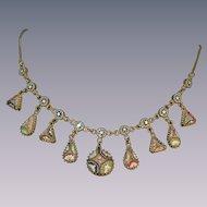 Antique micro mosaic necklace millefiori circa 1860- 1900 metal gilt rare piece