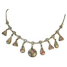 Antique millefiori  micro mosaic lavalier necklace circa 1870- 1900 metal gilt rare piece