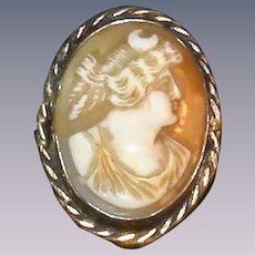 Antique carved cameo brooch 19th century Diana, Artemis