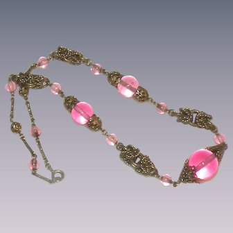 Art Deco Machine age Jakob Bengel necklace pink blown glass beads