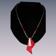 Art Deco machine age Red Jakob Bengel necklace chrome, glass, galalith