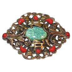 Vintage Neiger Brothers brass ornate brooch asian theme
