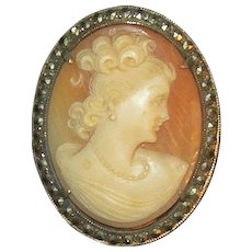 Vintage Carved Shell Cameo Silver and Marcasite Brooch or Pendant - Lady with Ringlets in Victorian style. circa 1920