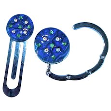 Artisan Fused Dichroic Glass Purse hook and Book mark set with vintage Austrian Crystal