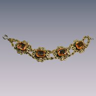 Vintage Czechoslovakian  Amber Colored Glass Link Bracelet Neiger