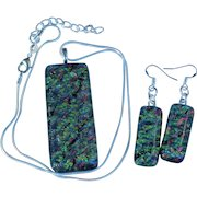 Artisan fused Glass earring and pendant set
