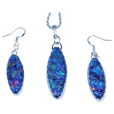 Artisan Dichroic Fused Glass Earrings and Pendant in sterling silver bezel setting