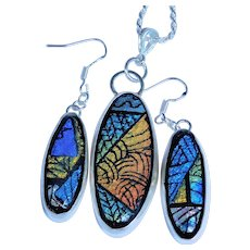 Artisan  Hand Etched Dichroic Fused Glass Earrings and Pendant in Silver Bezel