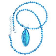 Artisan Dichroic blue  green  Fused Glass Pendant  in sterling bezel setting